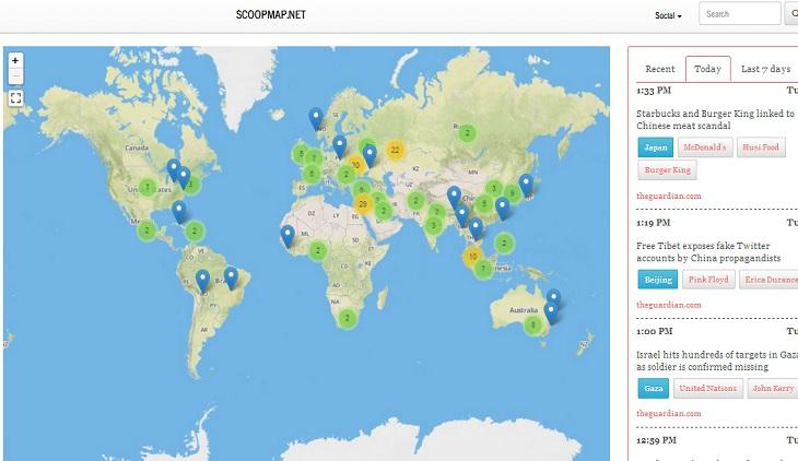 Mapa Del Tiempo En El Mundo.Scoopmap Mapa Interactivo Con Las Noticias Del Mundo En