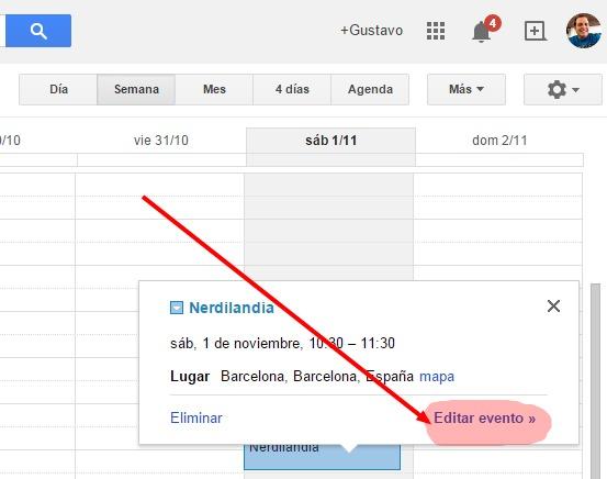 Google Calendar evento 1