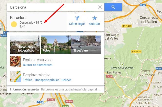 hora local y tiempo en Google Maps