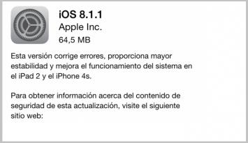 iOS 8.1.1 para iphone 4s e ipad2