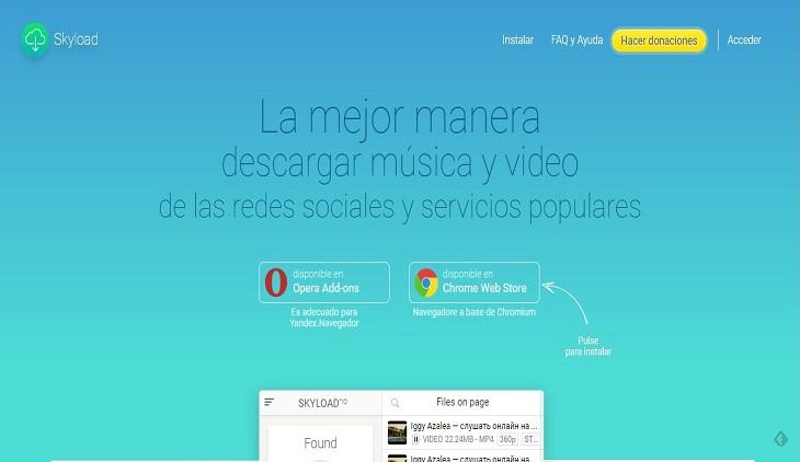 SkyLoad, para descargar cualquier video y audio de la web
